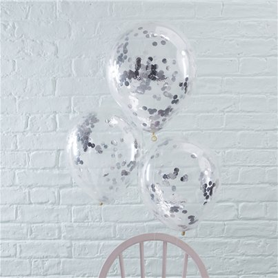 "Pick & Mix Silver Confetti Balloons - 12"" Latex"