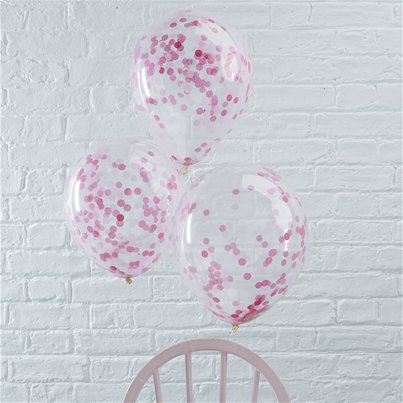 "Pick & Mix Pink Confetti Balloons - 12"" Latex"