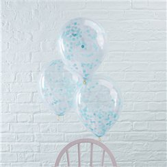 "Pick & Mix Blue Confetti Balloons - 12"" Latex"