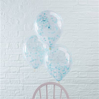Pick & Mix Blue Confetti Balloons - 12