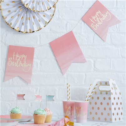 Pick & Mix Happy Birthday Ombre Flag Bunting - 3m