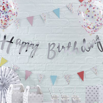 Pick & Mix Happy Birthday Silver Letter Bunting - 1.5m