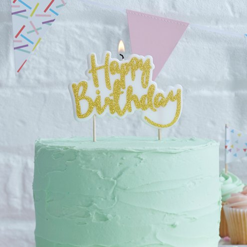 Pick Mix Gold Glitter Happy Birthday Candle