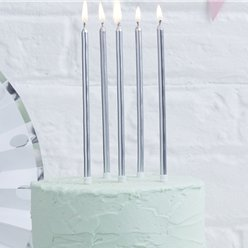 Pick & Mix Silver Tall Candles - 14cm