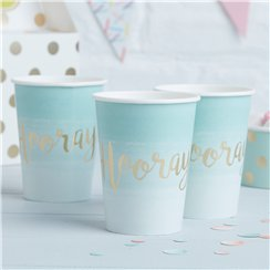 Pick & Mix Mint Hooray Gold Foiled Cups - 255ml Paper Party Cups