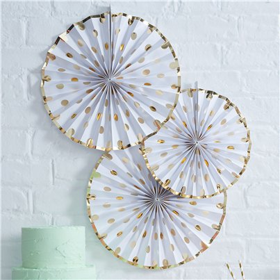 Pick & Mix White Metallic Polka Dot Paper Fan Decorations - 36cm