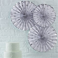 Pick & Mix Silver Polka Dot Paper Fan Decorations - 36cm