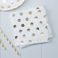 Pick & Mix White Metallic Polka Dot Napkins - 3ply Paper