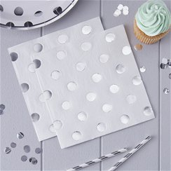 Pick & Mix Silver Polka Dot Napkins - 33cm