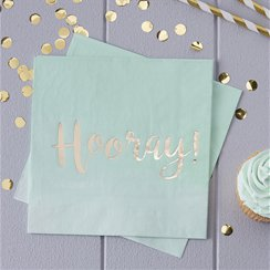 Pick & Mix Gold Foil Mint Hooray Napkins - 33cm