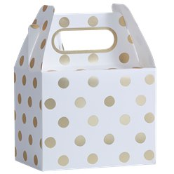 Pick & Mix White Metallic Polka Dot Party Boxes - 20cm