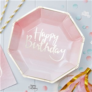 Pick & Mix Happy Birthday Ombre Plates - 25cm Paper Party Plates