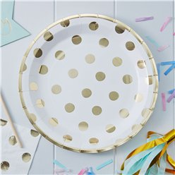Pick & Mix Gold Polka Dot Plates - 23cm