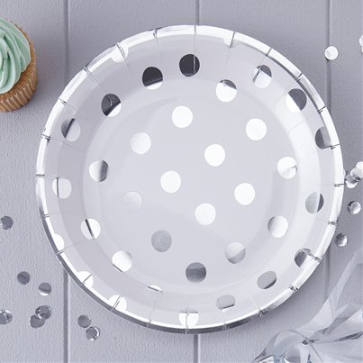 Pick & Mix Silver Polka Dot Plates - 23cm Paper Party Plates