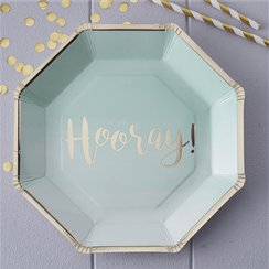 Pick & Mix Mint Hooray Gold Foiled Plates - 25cm Paper Party Plates