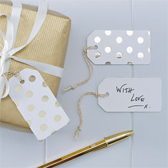 Pick & Mix White Metallic Polka Dot Luggage Tags - 7.5cm