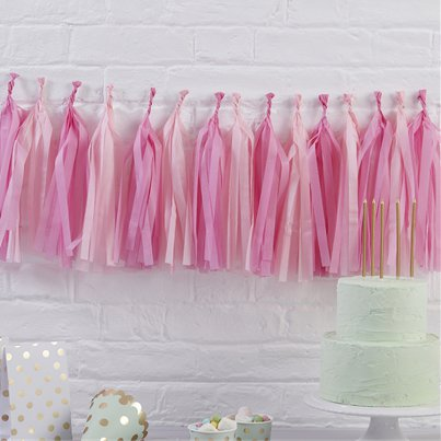 Pick & Mix Pink Tissue Tassel Garland Kit - 1.5m