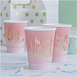 Pick & Mix Happy Birthday Ombre Cups - 255ml Paper Party Cups