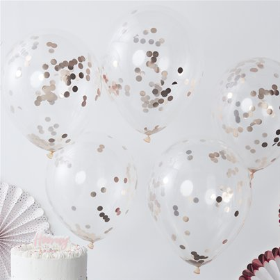 "Pick & Mix Rose Gold Confetti Balloons - 12"" Latex"