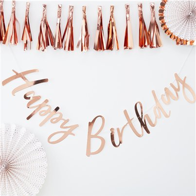 "Pick & Mix Rose Gold ""Happy Birthday"" Letter Banner - 1.8m"