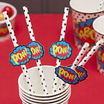 Pop Art Superhero Paper Straws with Flags