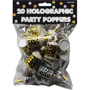 Holographic Foil Party Poppers - Black, Gold & Silver