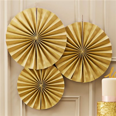 Pastel Perfection Gold Paper Fan Decorations - 36cm
