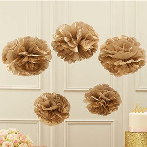 Pastel Perfection Gold Pom Pom Decorations - 33cm