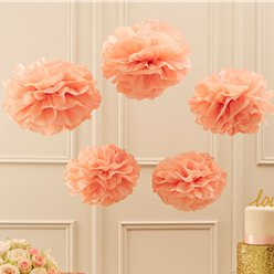 Pastel Perfection Pink Pom Pom Decorations - 33cm