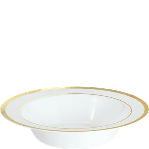 Premium Plastic Bowls - 340ml White with Gold Trim