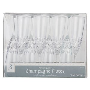 Clear Crystal Premium Plastic Champagne Flutes - 147ml