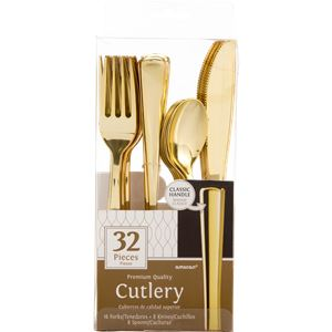 Premium Gold Reuseable Plastic Cutlery - Assorted Party Pack