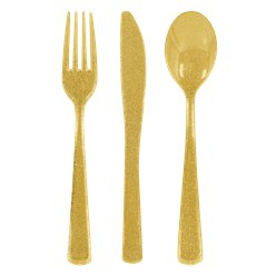 Premium Gold Glitter Reuseable Plastic Cutlery - Assorted Party Pack