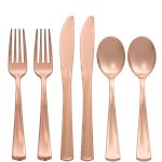 Premium Rose Gold Plastic Cutlery - Assorted Party Pack