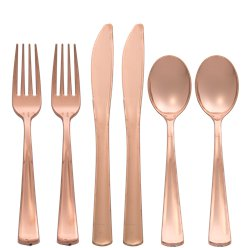 Premium Rose Gold Reusable Cutlery - Assorted 32pk