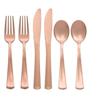 Premium Rose Gold Reuseable Plastic Cutlery - Assorted Party Pack