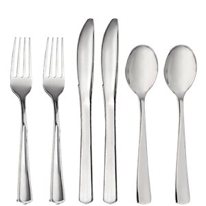Premium Silver Plastic Cutlery - Assorted Party Pack