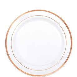 Premium Plastic Dessert Plates - 19cm White with Rose Gold Trim