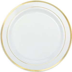 Premium Plastic Plates - 26cm White with Gold Trim