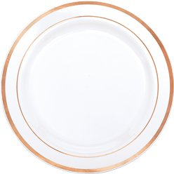 Premium Plastic Plates - 26cm White with Rose Gold Trim