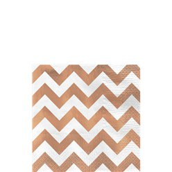 Premium Rose Gold Chevron Beverage Napkins - 25cm