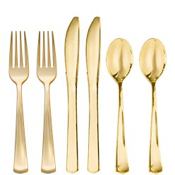 Premium Gold Plastic Cutlery - Assorted Party Pack