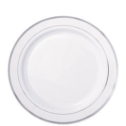 Premium Plastic Plates - 19cm White with Silver Trim