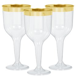 Premium Gold Trim Plastic Wine Glasses - 295ml