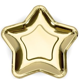 Princess Party Gold Star Paper Plates - 23cm