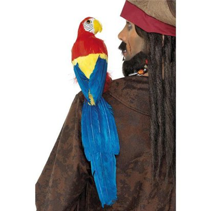 Feathered Parrot with Elastic Holder  - Pirate Fancy Dress Costume Accessories front