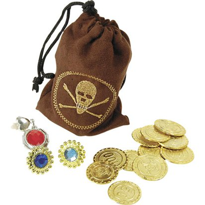 Pirate Pouch with Coins & Jewellery - Pirate Fancy Dress Costume Accessories front
