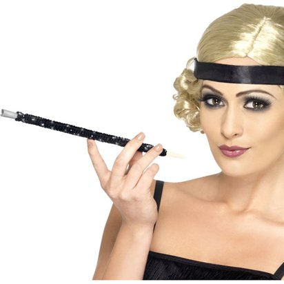 Black Sequin Cigarette Holder - 20's Fancy Dress Accessories front