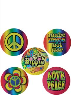 Hippie Button Badges