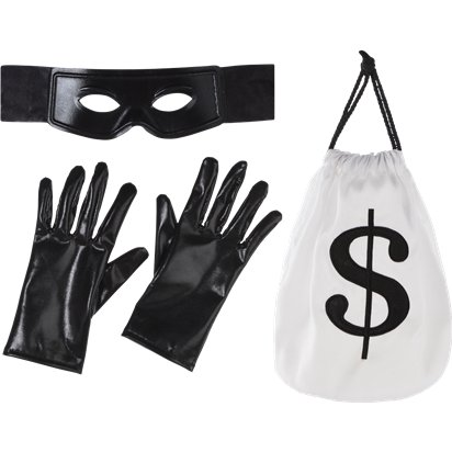 Thief Kit - Mask, Gloves & Money Bag - Fancy Dress Accessories front